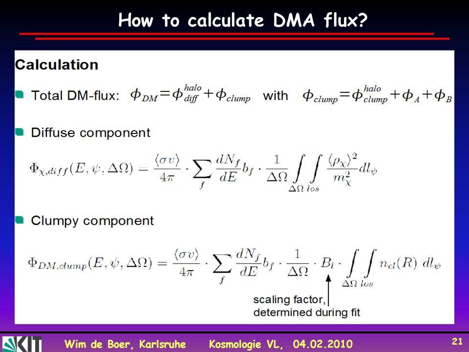 Wim de Boer, KarlsruheKosmologie VL, 04.02.2010 21 How to calculate DMA flux?