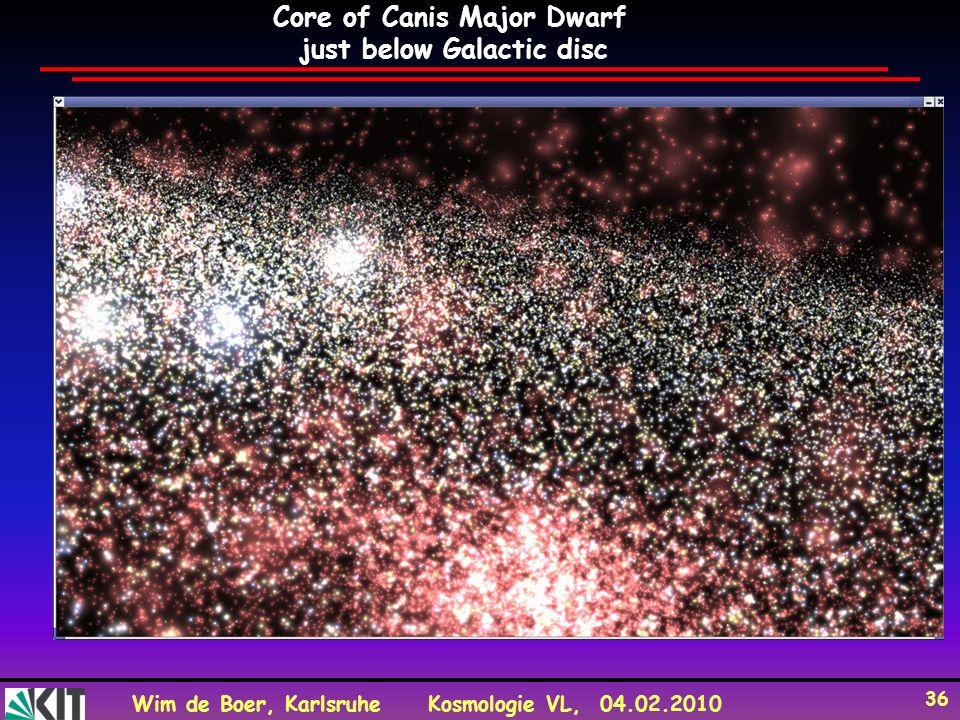 Wim de Boer, KarlsruheKosmologie VL, 04.02.2010 36 Core of Canis Major Dwarf just below Galactic disc
