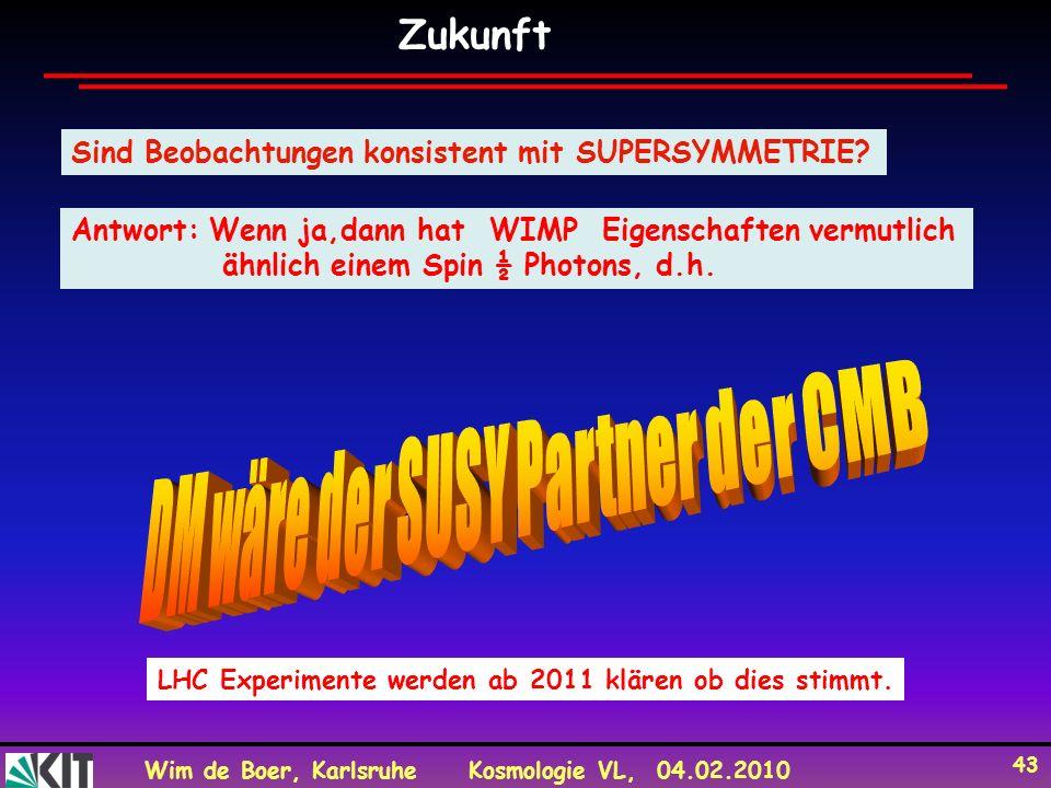 Wim de Boer, KarlsruheKosmologie VL, 04.02.2010 43 Zukunft Sind Beobachtungen konsistent mit SUPERSYMMETRIE.