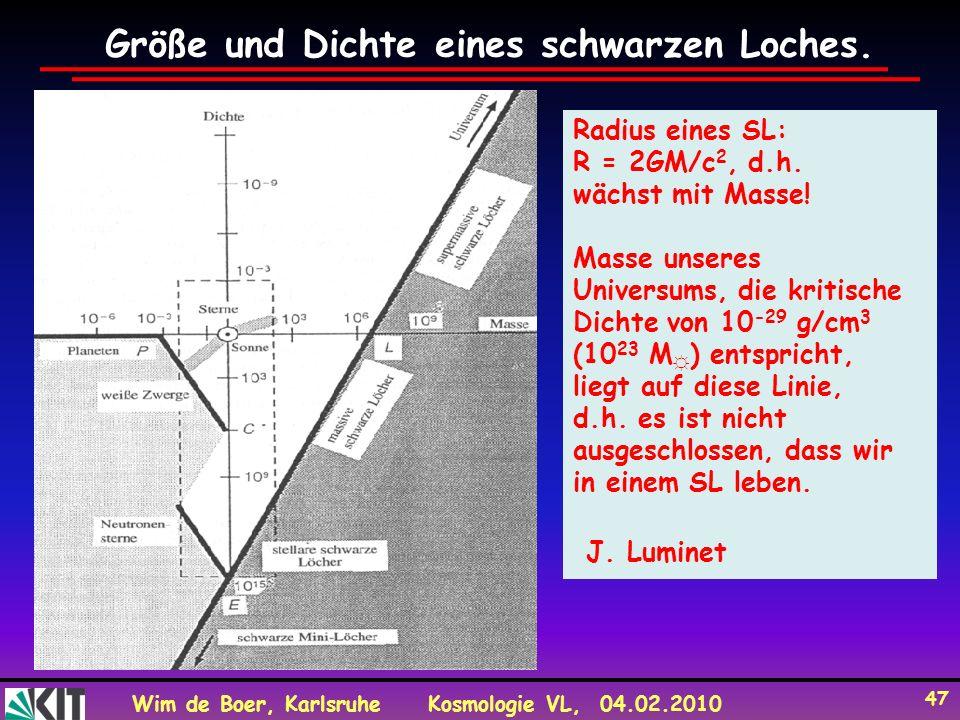 Wim de Boer, KarlsruheKosmologie VL, 04.02.2010 47 Größe und Dichte eines schwarzen Loches.