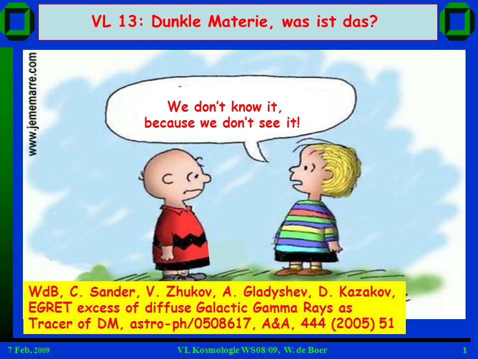 7 Feb, 2009 VL Kosmologie WS08/09, W. de Boer1 We dont know it, because we dont see it! VL 13: Dunkle Materie, was ist das? WdB, C. Sander, V. Zhukov,