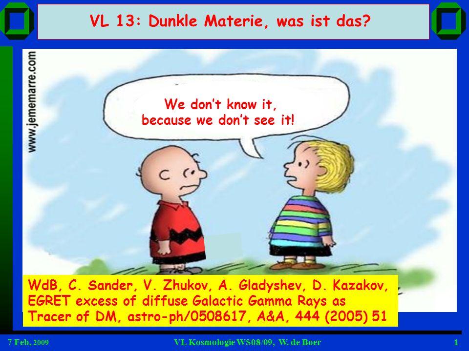 7 Feb, 2009 VL Kosmologie WS08/09, W.de Boer22 Untergrund + DM Annihilation beschreiben Daten W.