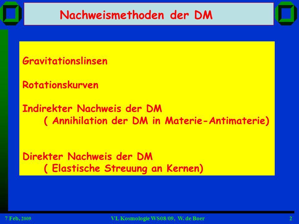 7 Feb, 2009 VL Kosmologie WS08/09, W. de Boer2 Gravitationslinsen Rotationskurven Indirekter Nachweis der DM ( Annihilation der DM in Materie-Antimate