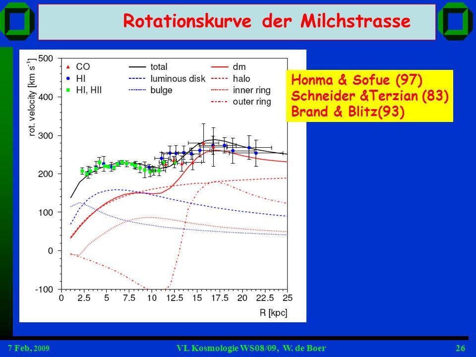 7 Feb, 2009 VL Kosmologie WS08/09, W. de Boer26 Honma & Sofue (97) Schneider &Terzian (83) Brand & Blitz(93) Rotationskurve der Milchstrasse