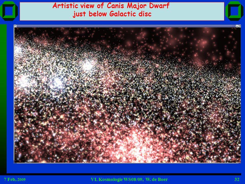 7 Feb, 2009 VL Kosmologie WS08/09, W. de Boer32 Artistic view of Canis Major Dwarf just below Galactic disc
