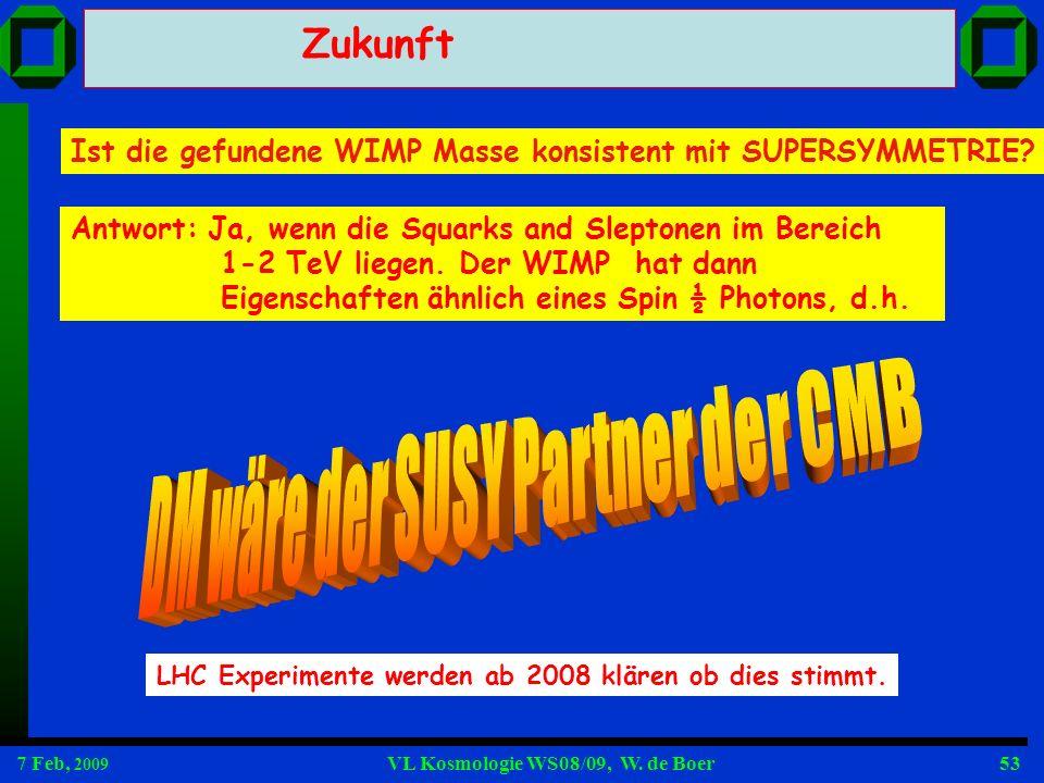 7 Feb, 2009 VL Kosmologie WS08/09, W. de Boer53 Zukunft Ist die gefundene WIMP Masse konsistent mit SUPERSYMMETRIE? LHC Experimente werden ab 2008 klä