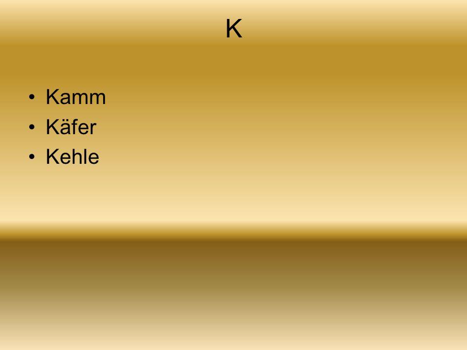 K Kamm Käfer Kehle