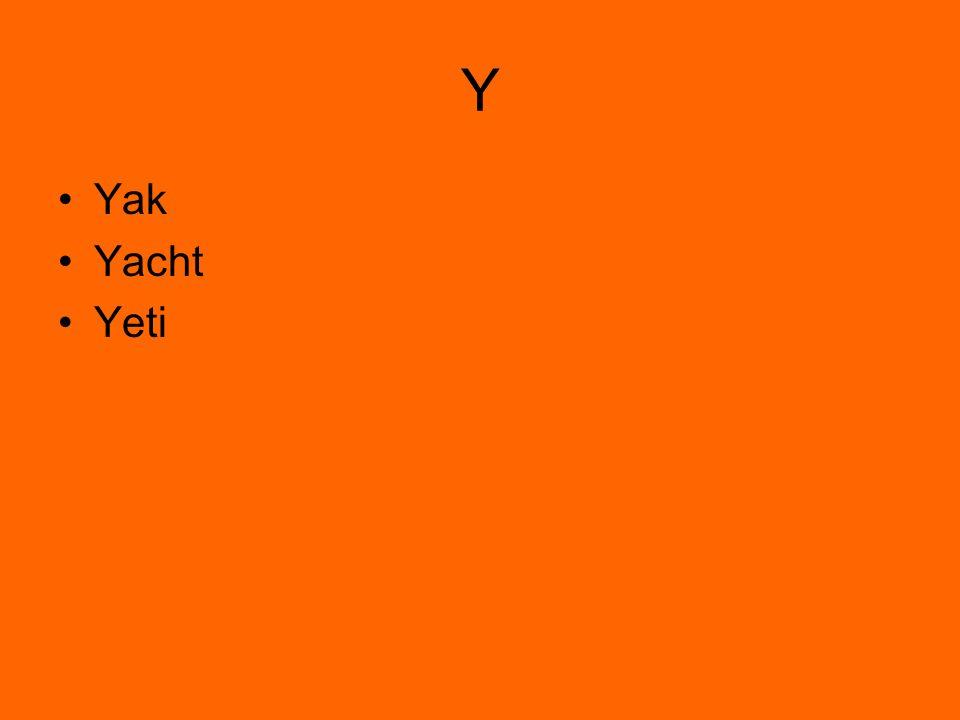 Y Yak Yacht Yeti