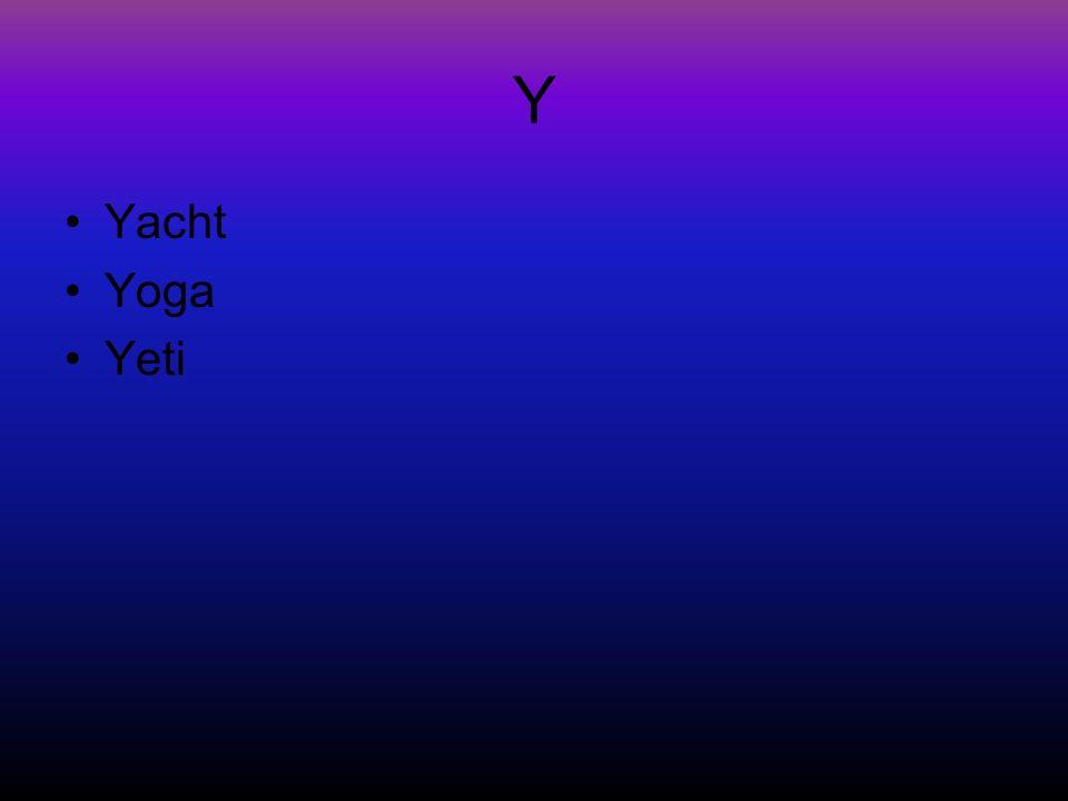 Y Yacht Yoga Yeti