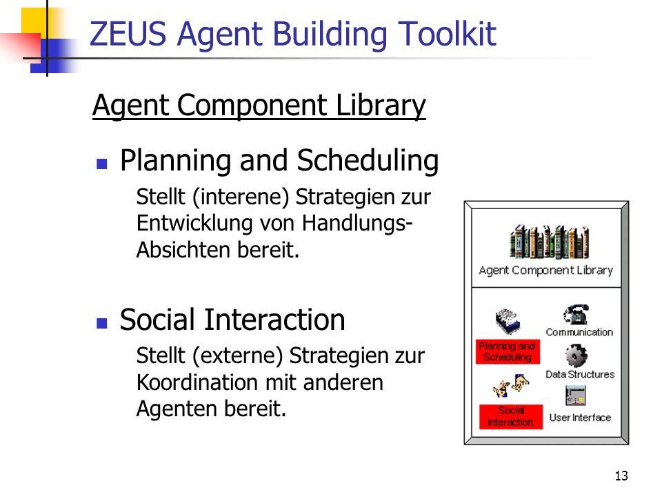 13 ZEUS Agent Building Toolkit Agent Component Library Planning and Scheduling Stellt (interene) Strategien zur Entwicklung von Handlungs- Absichten b