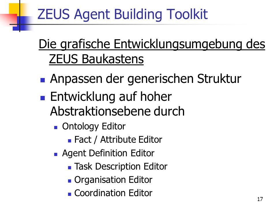 17 ZEUS Agent Building Toolkit Die grafische Entwicklungsumgebung des ZEUS Baukastens Anpassen der generischen Struktur Entwicklung auf hoher Abstrakt