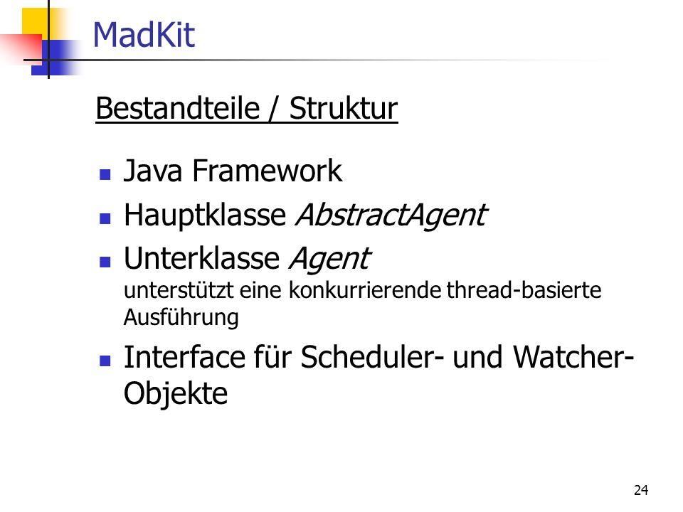 24 MadKit Bestandteile / Struktur Java Framework Hauptklasse AbstractAgent Unterklasse Agent unterstützt eine konkurrierende thread-basierte Ausführung Interface für Scheduler- und Watcher- Objekte