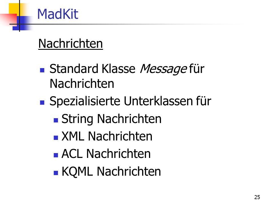 25 MadKit Nachrichten Standard Klasse Message für Nachrichten Spezialisierte Unterklassen für String Nachrichten XML Nachrichten ACL Nachrichten KQML Nachrichten