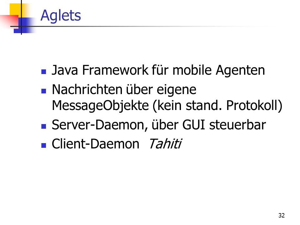 32 Aglets Java Framework für mobile Agenten Nachrichten über eigene MessageObjekte (kein stand. Protokoll) Server-Daemon, über GUI steuerbar Client-Da