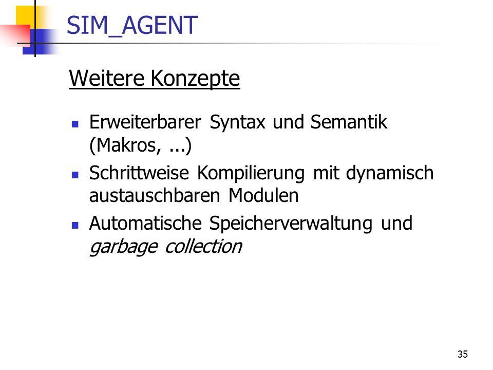 35 SIM_AGENT Weitere Konzepte Erweiterbarer Syntax und Semantik (Makros,...) Schrittweise Kompilierung mit dynamisch austauschbaren Modulen Automatische Speicherverwaltung und garbage collection