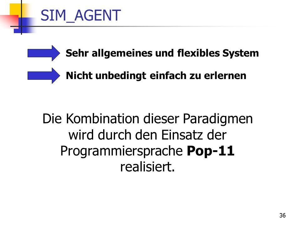 36 SIM_AGENT Sehr allgemeines und flexibles System Nicht unbedingt einfach zu erlernen Die Kombination dieser Paradigmen wird durch den Einsatz der Programmiersprache Pop-11 realisiert.