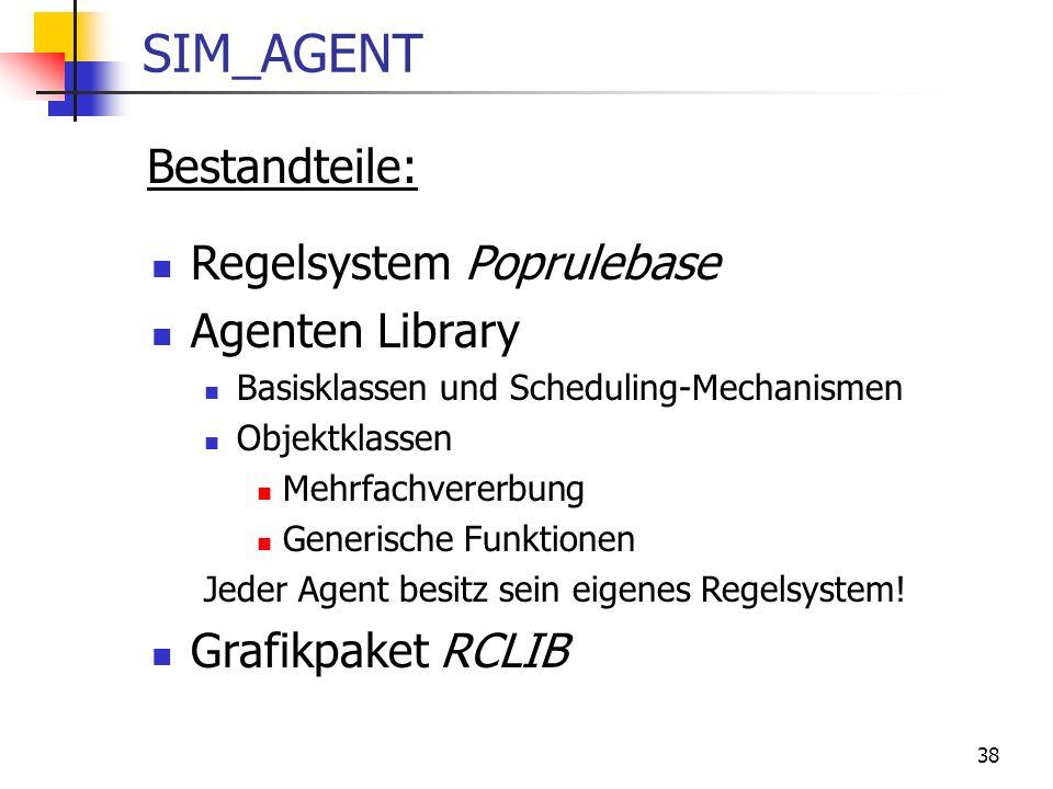 38 SIM_AGENT Bestandteile: Regelsystem Poprulebase Agenten Library Basisklassen und Scheduling-Mechanismen Objektklassen Mehrfachvererbung Generische Funktionen Jeder Agent besitz sein eigenes Regelsystem.