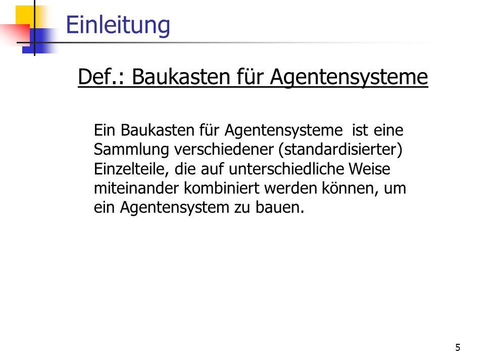 5 Einleitung Def.: Baukasten für Agentensysteme Ein Baukasten für Agentensysteme ist eine Sammlung verschiedener (standardisierter) Einzelteile, die a