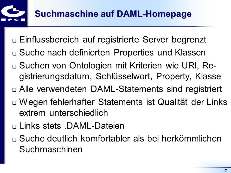 17 Suchmaschine auf DAML-Homepage Einflussbereich auf registrierte Server begrenzt Suche nach definierten Properties und Klassen Suchen von Ontologien mit Kriterien wie URI, Re- gistrierungsdatum, Schlüsselwort, Property, Klasse Alle verwendeten DAML-Statements sind registriert Wegen fehlerhafter Statements ist Qualität der Links extrem unterschiedlich Links stets.DAML-Dateien Suche deutlich komfortabler als bei herkömmlichen Suchmaschinen