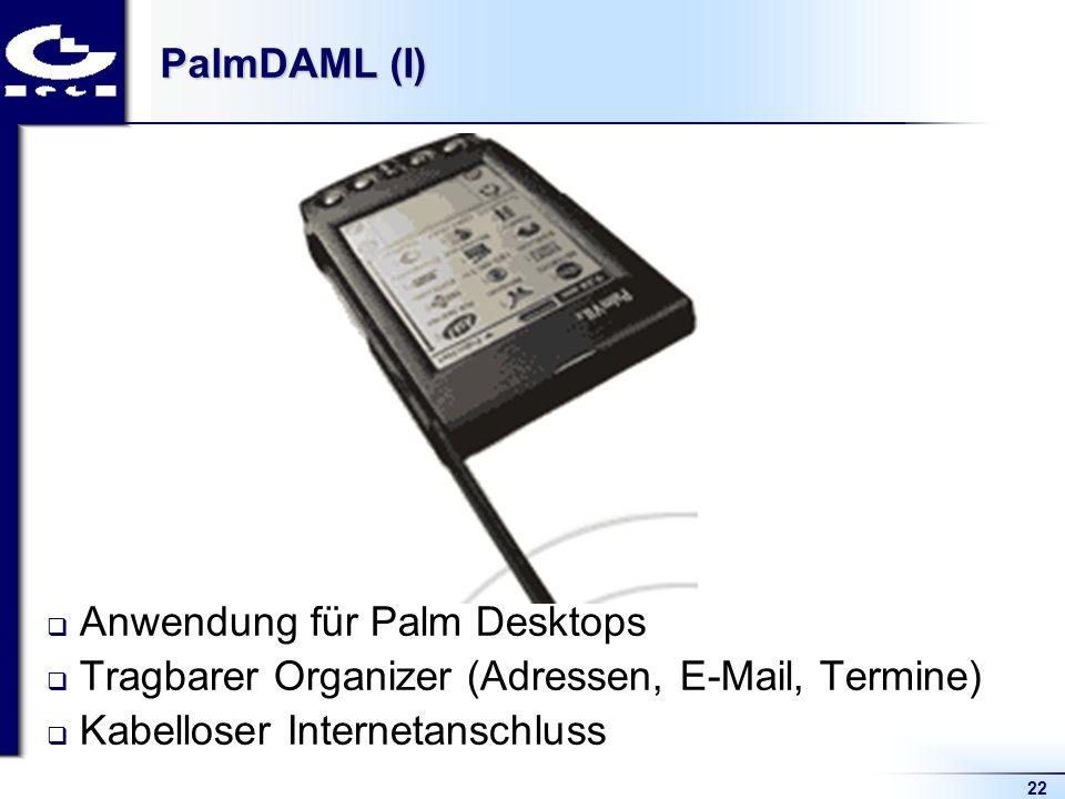22 PalmDAML (I) Anwendung für Palm Desktops Tragbarer Organizer (Adressen, E-Mail, Termine) Kabelloser Internetanschluss