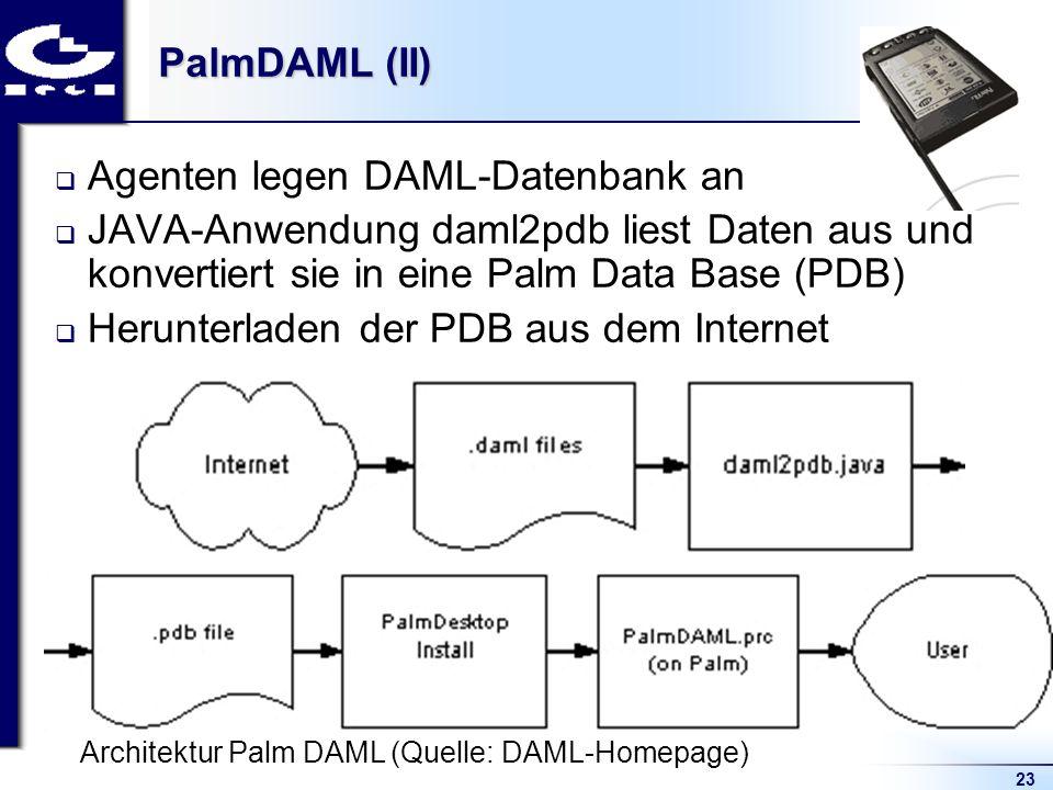 23 PalmDAML (II) Agenten legen DAML-Datenbank an JAVA-Anwendung daml2pdb liest Daten aus und konvertiert sie in eine Palm Data Base (PDB) Herunterlade