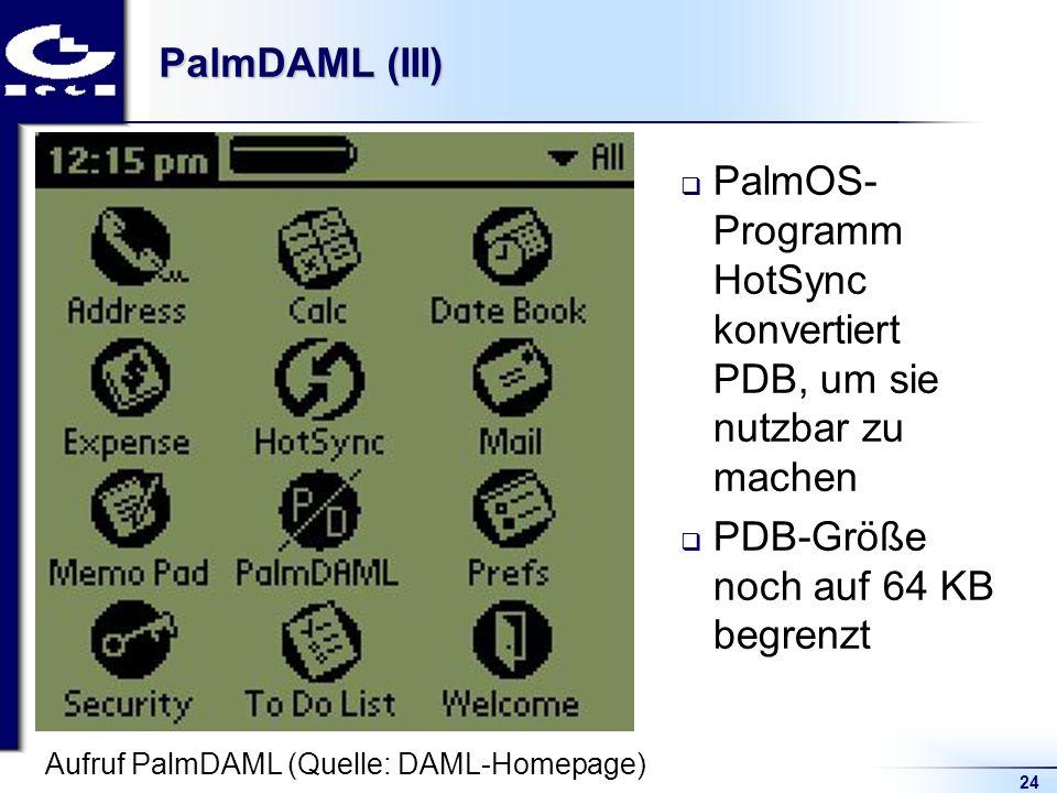24 PalmDAML (III) PalmOS- Programm HotSync konvertiert PDB, um sie nutzbar zu machen PDB-Größe noch auf 64 KB begrenzt Aufruf PalmDAML (Quelle: DAML-Homepage)