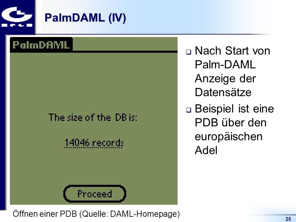 25 PalmDAML (IV) Nach Start von Palm-DAML Anzeige der Datensätze Beispiel ist eine PDB über den europäischen Adel Öffnen einer PDB (Quelle: DAML-Homep