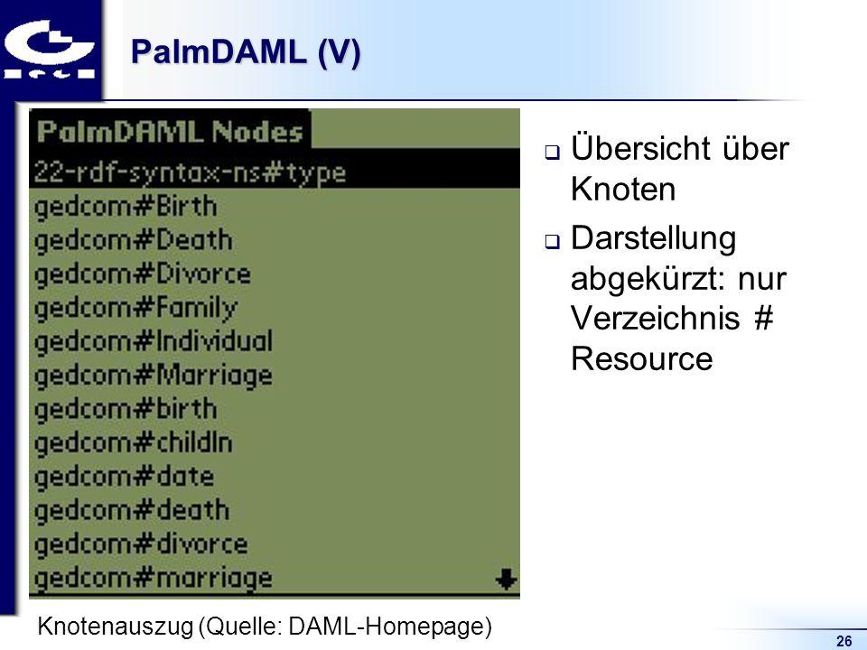 26 PalmDAML (V) Übersicht über Knoten Darstellung abgekürzt: nur Verzeichnis # Resource Knotenauszug (Quelle: DAML-Homepage)