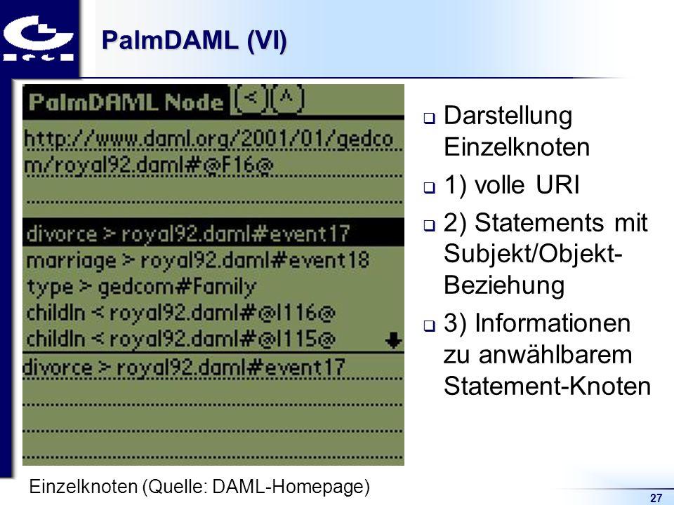 27 PalmDAML (VI) Darstellung Einzelknoten 1) volle URI 2) Statements mit Subjekt/Objekt- Beziehung 3) Informationen zu anwählbarem Statement-Knoten Ei