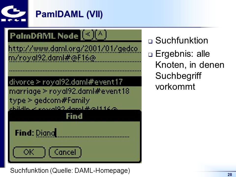 28 PamlDAML (VII) Suchfunktion Ergebnis: alle Knoten, in denen Suchbegriff vorkommt Suchfunktion (Quelle: DAML-Homepage)