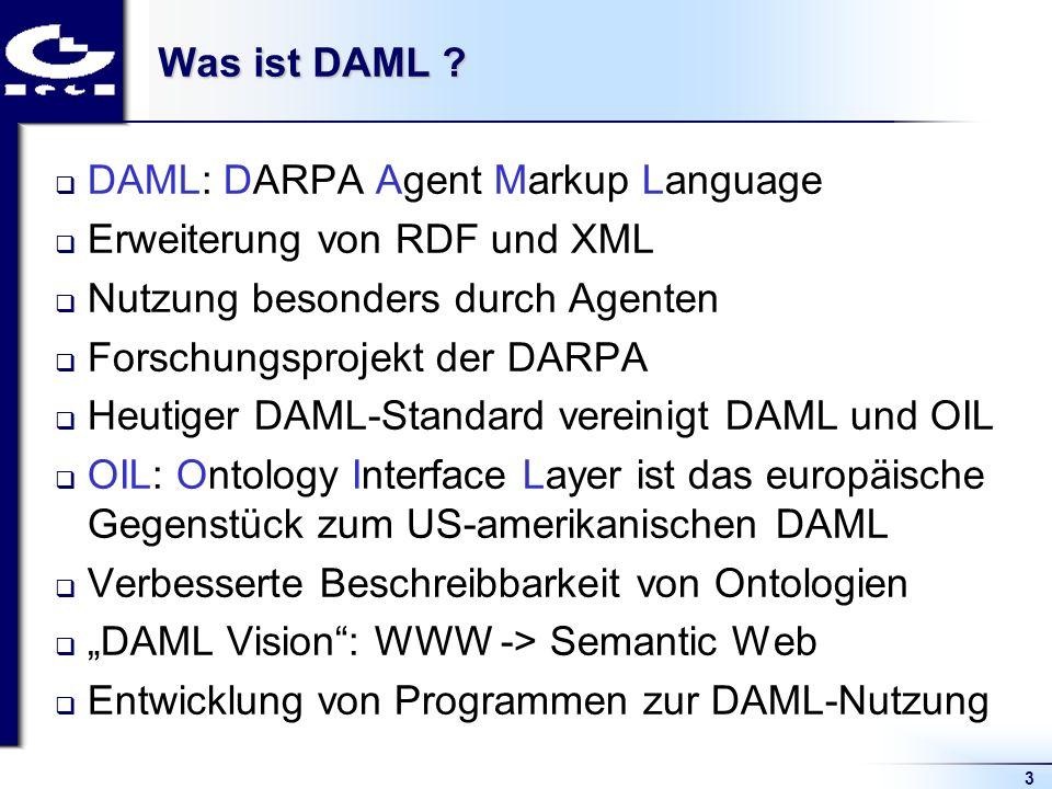 3 Was ist DAML ? DAML: DARPA Agent Markup Language Erweiterung von RDF und XML Nutzung besonders durch Agenten Forschungsprojekt der DARPA Heutiger DA