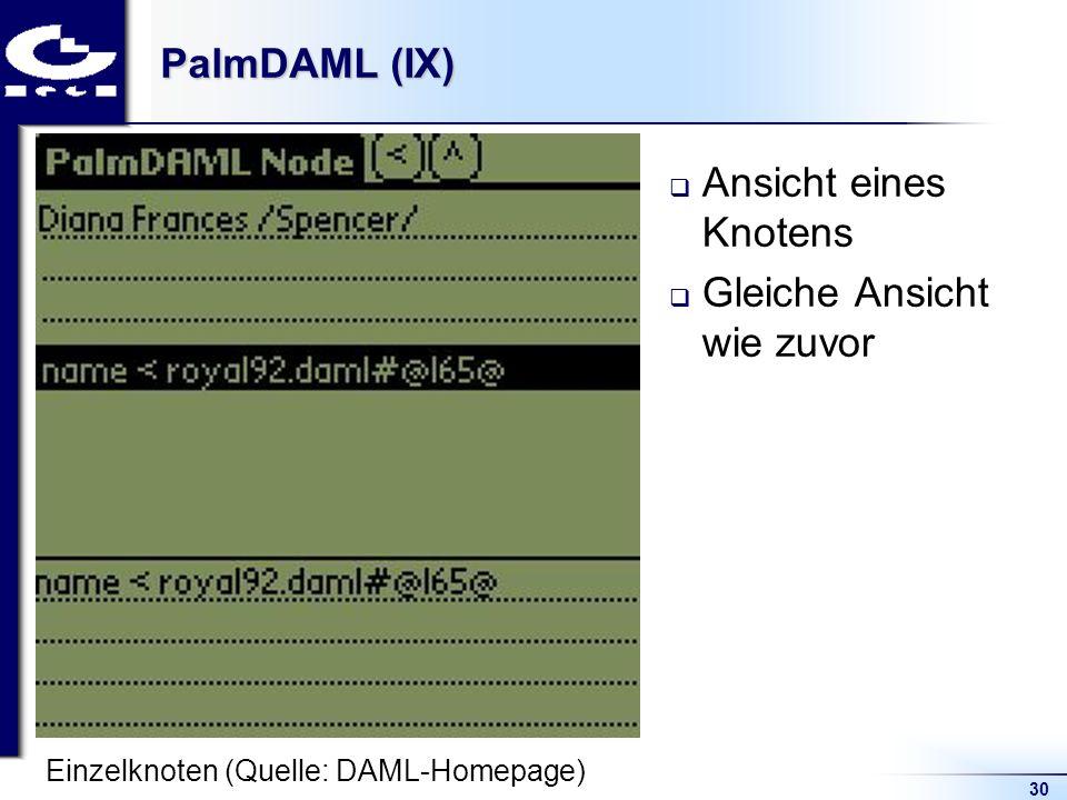30 PalmDAML (IX) Ansicht eines Knotens Gleiche Ansicht wie zuvor Einzelknoten (Quelle: DAML-Homepage)