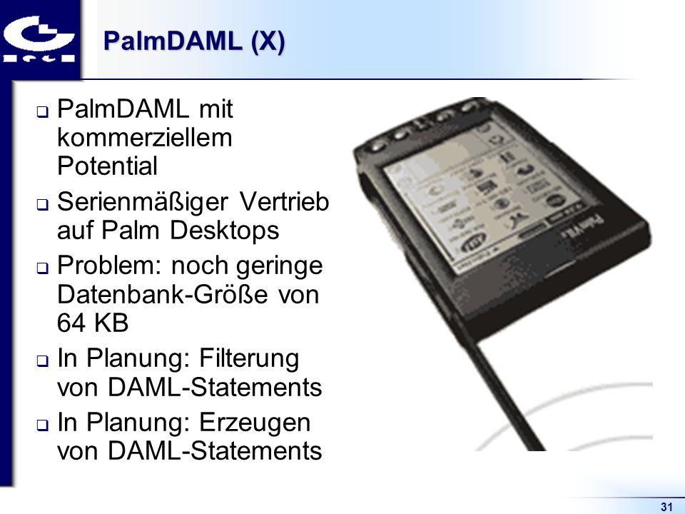 31 PalmDAML (X) PalmDAML mit kommerziellem Potential Serienmäßiger Vertrieb auf Palm Desktops Problem: noch geringe Datenbank-Größe von 64 KB In Planung: Filterung von DAML-Statements In Planung: Erzeugen von DAML-Statements