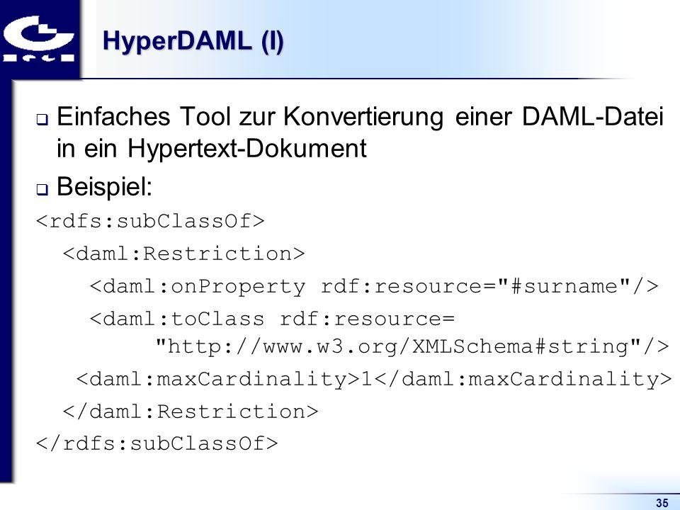 35 HyperDAML (I) Einfaches Tool zur Konvertierung einer DAML-Datei in ein Hypertext-Dokument Beispiel: 1