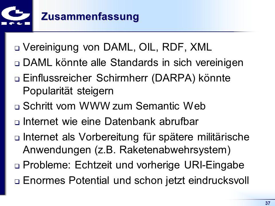 37Zusammenfassung Vereinigung von DAML, OIL, RDF, XML DAML könnte alle Standards in sich vereinigen Einflussreicher Schirmherr (DARPA) könnte Populari