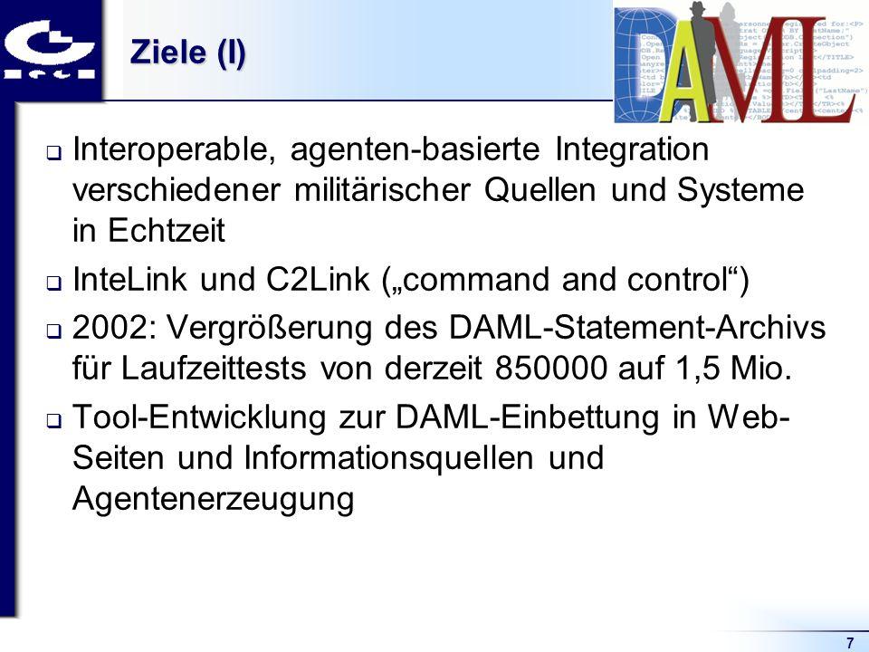 7 Ziele (I) Interoperable, agenten-basierte Integration verschiedener militärischer Quellen und Systeme in Echtzeit InteLink und C2Link (command and control) 2002: Vergrößerung des DAML-Statement-Archivs für Laufzeittests von derzeit 850000 auf 1,5 Mio.
