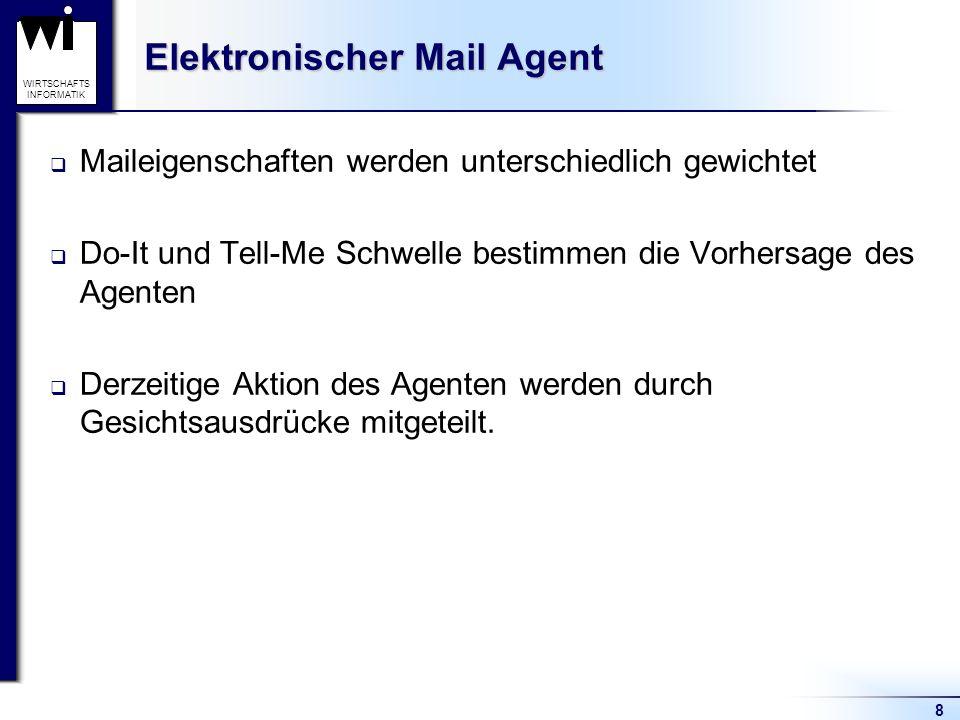 8 WIRTSCHAFTS INFORMATIK Elektronischer Mail Agent Maileigenschaften werden unterschiedlich gewichtet Do-It und Tell-Me Schwelle bestimmen die Vorhersage des Agenten Derzeitige Aktion des Agenten werden durch Gesichtsausdrücke mitgeteilt.