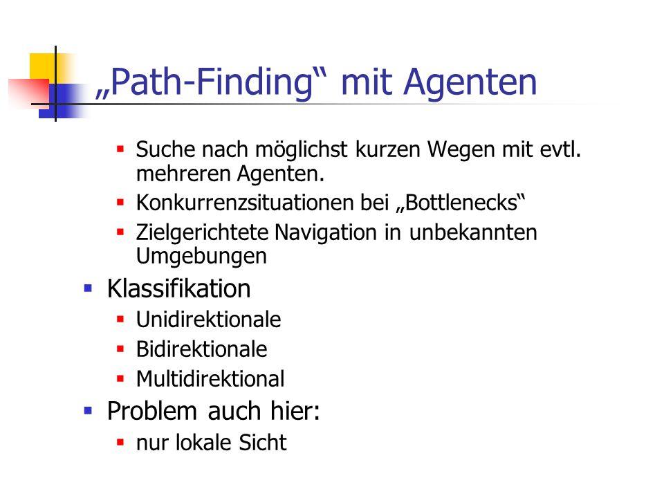 Path-Finding mit Agenten Suche nach möglichst kurzen Wegen mit evtl. mehreren Agenten. Konkurrenzsituationen bei Bottlenecks Zielgerichtete Navigation