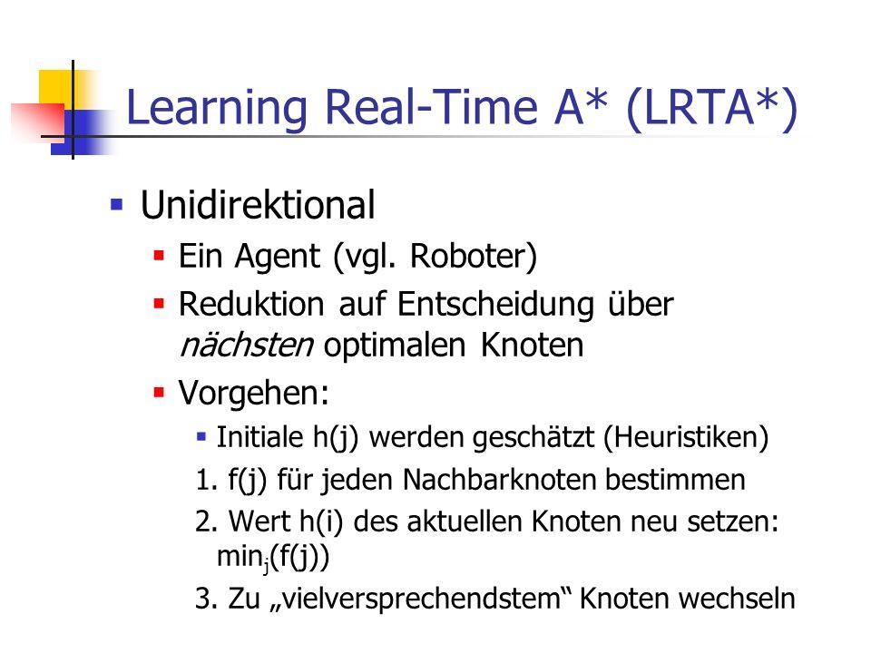 Learning Real-Time A* (LRTA*) Unidirektional Ein Agent (vgl. Roboter) Reduktion auf Entscheidung über nächsten optimalen Knoten Vorgehen: Initiale h(j
