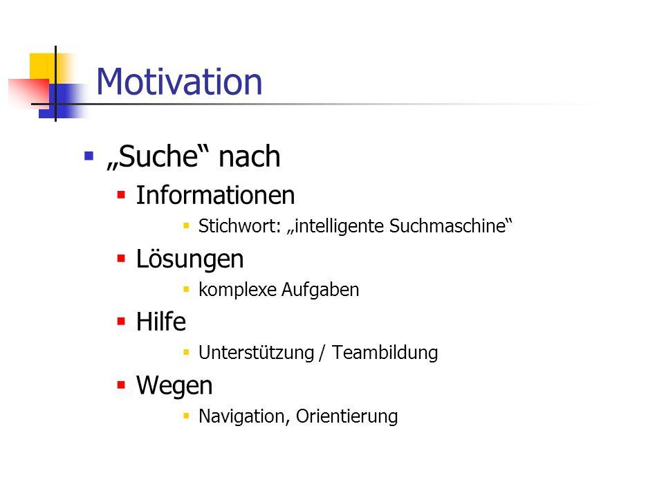 Motivation Suche nach Informationen Stichwort: intelligente Suchmaschine Lösungen komplexe Aufgaben Hilfe Unterstützung / Teambildung Wegen Navigation