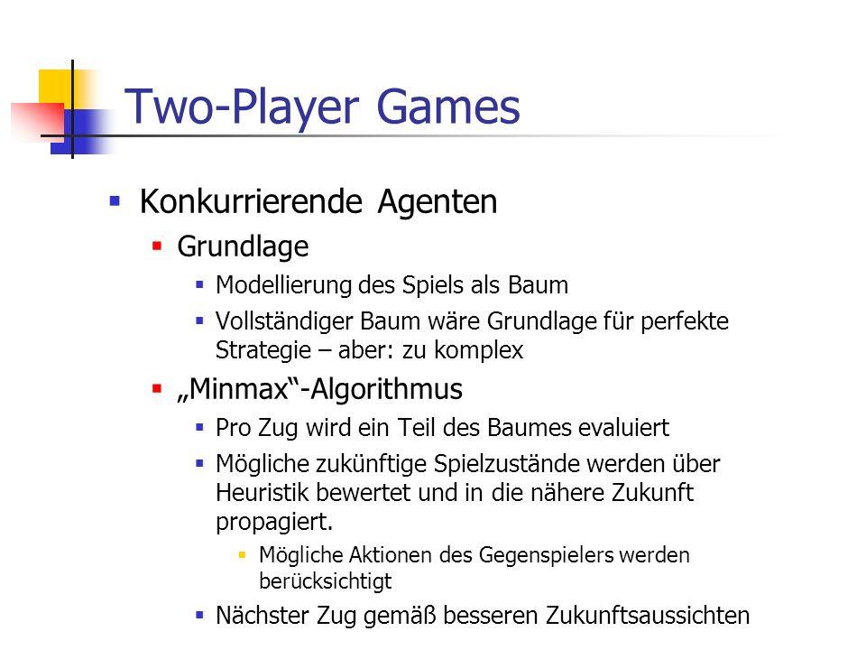 Two-Player Games Konkurrierende Agenten Grundlage Modellierung des Spiels als Baum Vollständiger Baum wäre Grundlage für perfekte Strategie – aber: zu