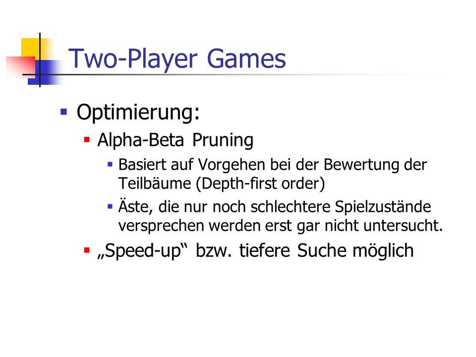 Two-Player Games Optimierung: Alpha-Beta Pruning Basiert auf Vorgehen bei der Bewertung der Teilbäume (Depth-first order) Äste, die nur noch schlechte