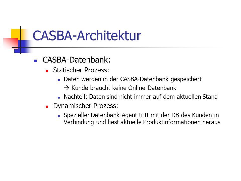CASBA-Datenbank: Statischer Prozess: Daten werden in der CASBA-Datenbank gespeichert Kunde braucht keine Online-Datenbank Nachteil: Daten sind nicht immer auf dem aktuellen Stand Dynamischer Prozess: Spezieller Datenbank-Agent tritt mit der DB des Kunden in Verbindung und liest aktuelle Produktinformationen heraus