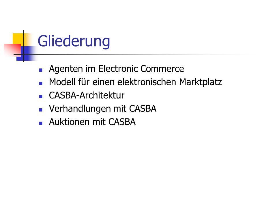 Gliederung Agenten im Electronic Commerce Modell für einen elektronischen Marktplatz CASBA-Architektur Verhandlungen mit CASBA Auktionen mit CASBA