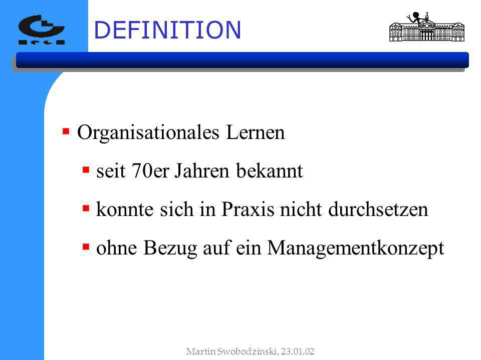 Organisationales Lernen seit 70er Jahren bekannt konnte sich in Praxis nicht durchsetzen ohne Bezug auf ein Managementkonzept DEFINITION Martin Swobodzinski, 23.01.02
