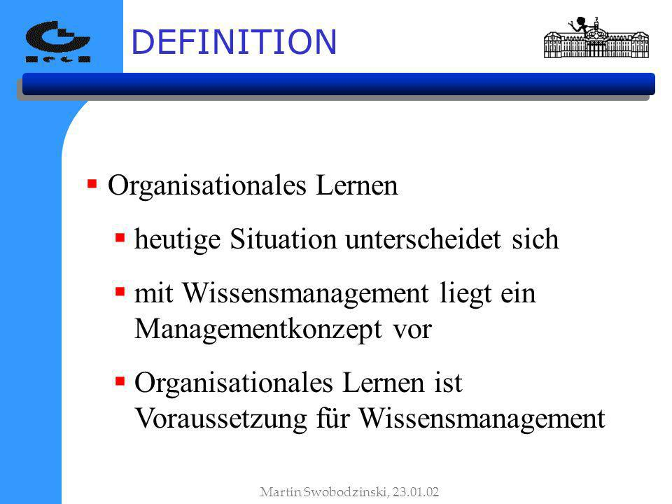 Organisationales Lernen heutige Situation unterscheidet sich mit Wissensmanagement liegt ein Managementkonzept vor Organisationales Lernen ist Voraussetzung für Wissensmanagement DEFINITION Martin Swobodzinski, 23.01.02
