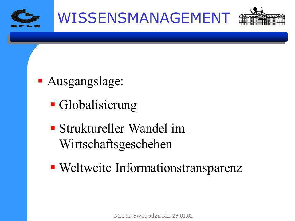WISSENSMANAGEMENT Ausgangslage: Globalisierung Struktureller Wandel im Wirtschaftsgeschehen Weltweite Informationstransparenz Martin Swobodzinski, 23.01.02