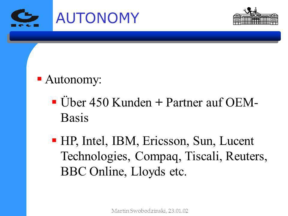 AUTONOMY Autonomy: Über 450 Kunden + Partner auf OEM- Basis HP, Intel, IBM, Ericsson, Sun, Lucent Technologies, Compaq, Tiscali, Reuters, BBC Online,
