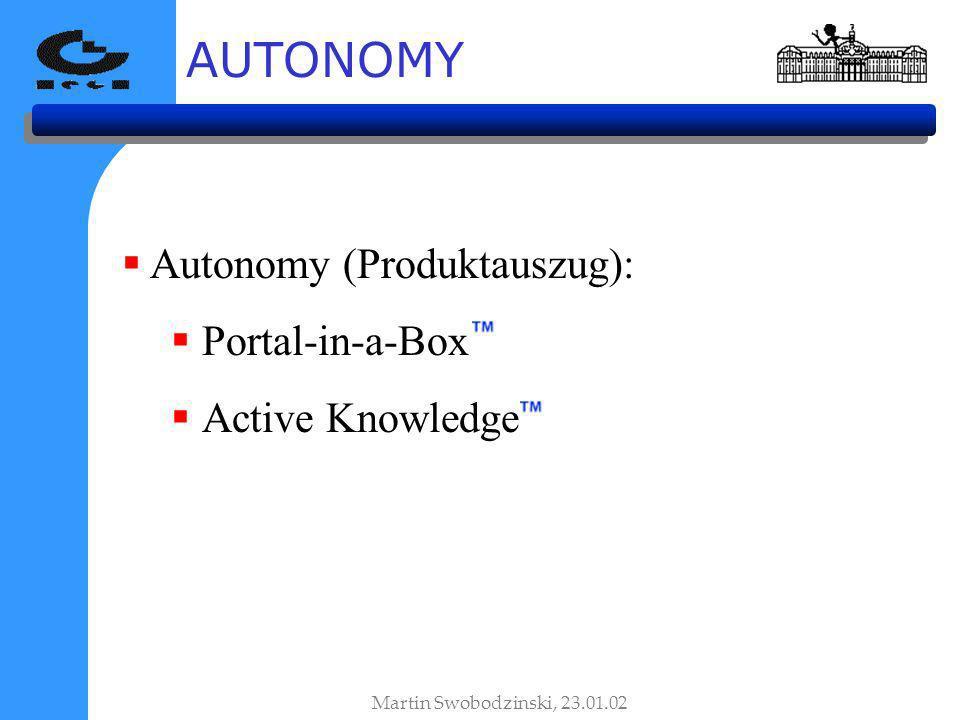 AUTONOMY Martin Swobodzinski, 23.01.02 Autonomy (Produktauszug): Portal-in-a-Box Active Knowledge
