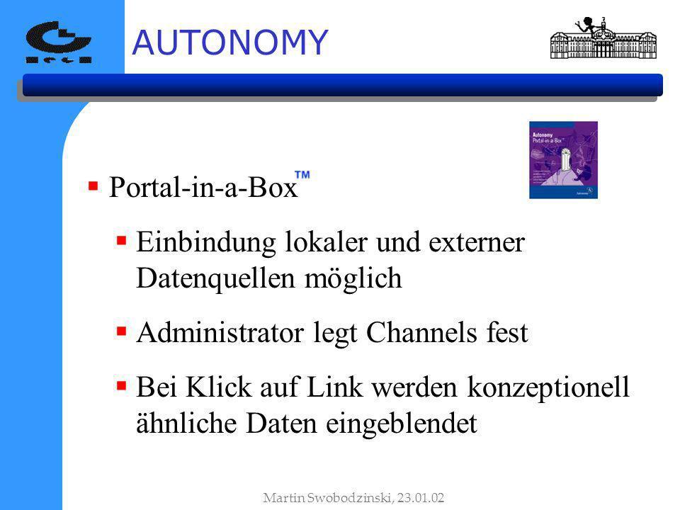 AUTONOMY Martin Swobodzinski, 23.01.02 Portal-in-a-Box Einbindung lokaler und externer Datenquellen möglich Administrator legt Channels fest Bei Klick auf Link werden konzeptionell ähnliche Daten eingeblendet